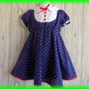 Harajuku Navy Blue White Dot Dress Girls Size 2T